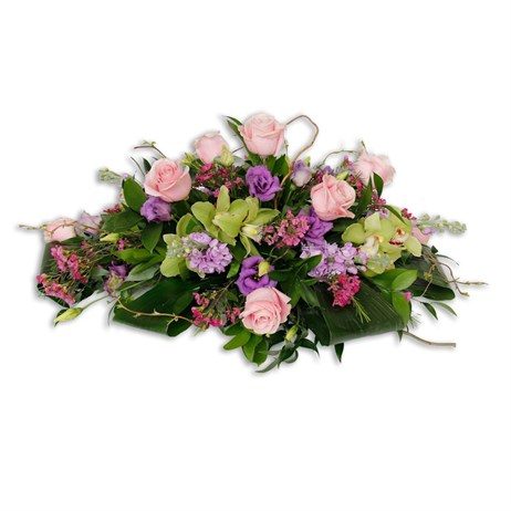 With Sympathy Flowers - 2ft Double Ended Spray Pink & Lime