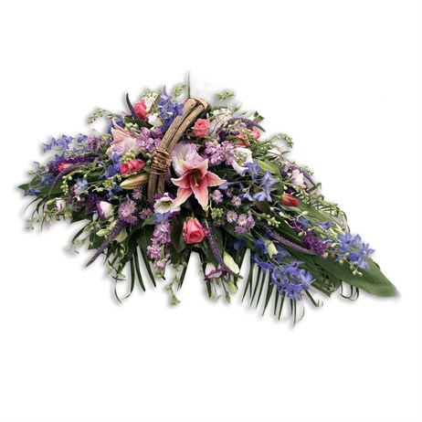 With Sympathy Flowers - Pink Mauve and Blue Sympathy Basket Arrangment