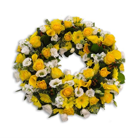Yellow and White Loose Wreath 12inch
