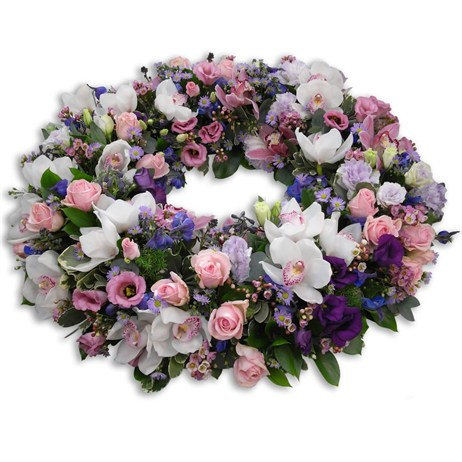 Pink Mauve and White Loose Wreath 16inch