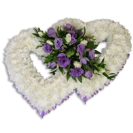 With Sympathy Flowers - Chrysanthemum Based Double Heart