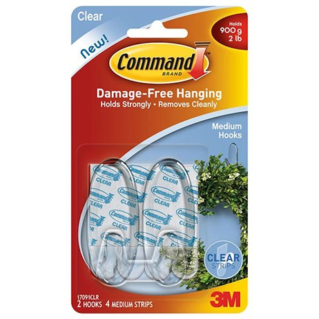 Command Medium Clear Hooks with Clear Strips 17091CLR (4364-CL)