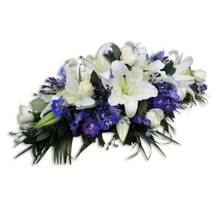With Sympathy Flowers - Blue and White Double Ended Spray 2ft