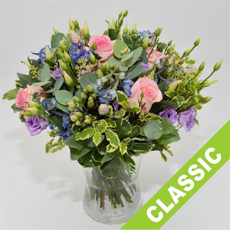 Pink, Lilac & Blue Hand Tied Bouquet - Classic