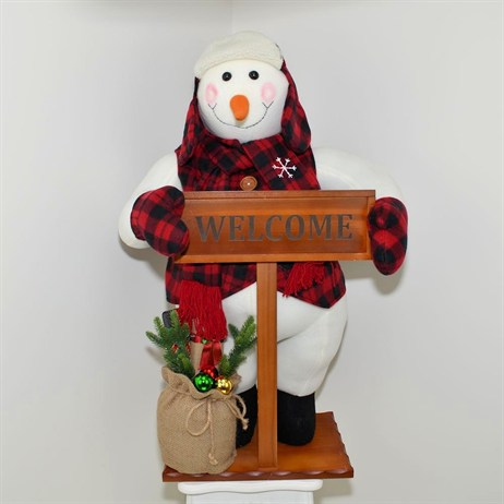 Standing Snowman with Welcome Sign - 36 Inch (XM-A6008)