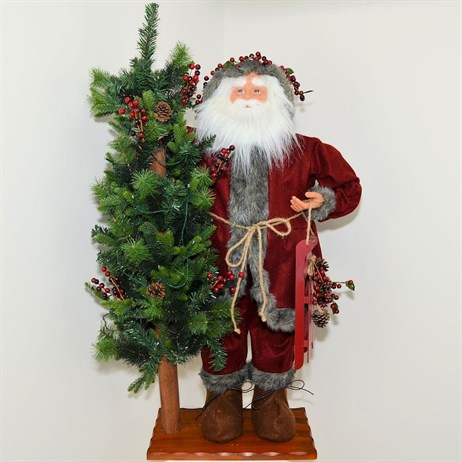 Inflatable Standing Santa Holding Tree with Lights & Music - 36 Inch (XM-A6056)