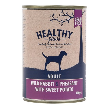 Healthy Paws Wild Rabbit & Pheasant with Sweet Potato (Wet) Can 400g Dog Food