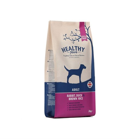 Healthy Paws Rabbit, Duck & Brown Rice (Adult) 2kg Dog Food