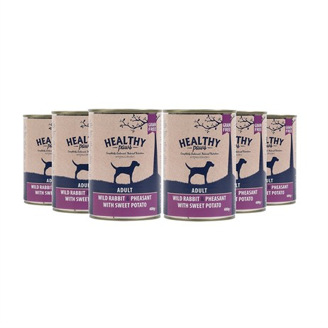 Healthy Paws Wild Rabbit & Pheasant with Sweet Potato (Wet) Can 400g Dog Food - 6 Pack