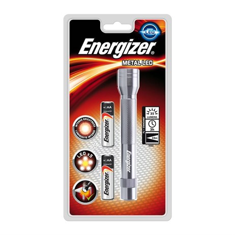 Energizer LED Metal Torch with 2 AA Batteries (639805)
