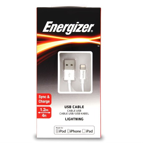 Energizer Classic Charge & Sync Lightning Cable White 1.2m (C11UBLIGWH4)