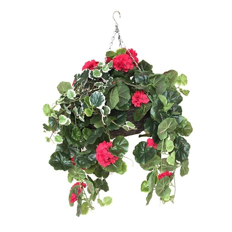 Swift Artificial Hanging Basket With Large Red Geraniums (50100401)