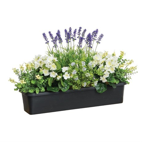 Swift Artificial Window Box Trough With Geraniums, Eucalyptus & Berry (50304107)