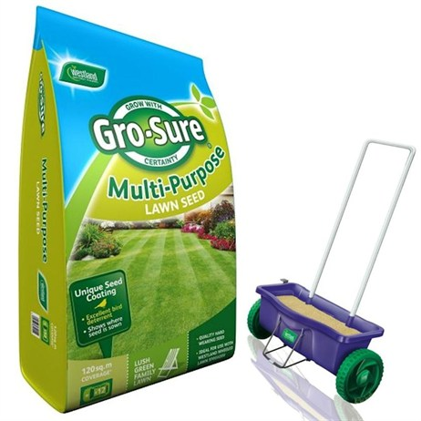 Promotion! Buy A Gro Sure Multi Purpose 300m2 Grass Seed & Get A Spreader Half Price - ONLINE EXCLUSIVE