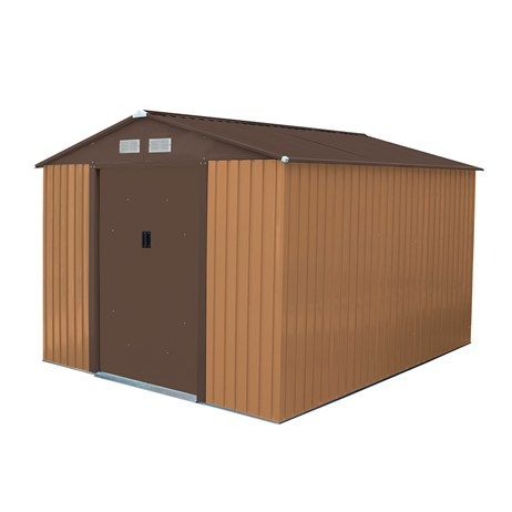 Charles Bentley 8ft x 10ft Metal Garden Shed in Brown (GLMTSHED10) DIRECT DISPATCH