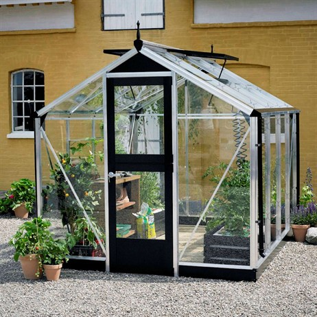 Juliana Greenhouses Compact Toughened Glass 7' x 9' - Aluminium/Black (V01512)