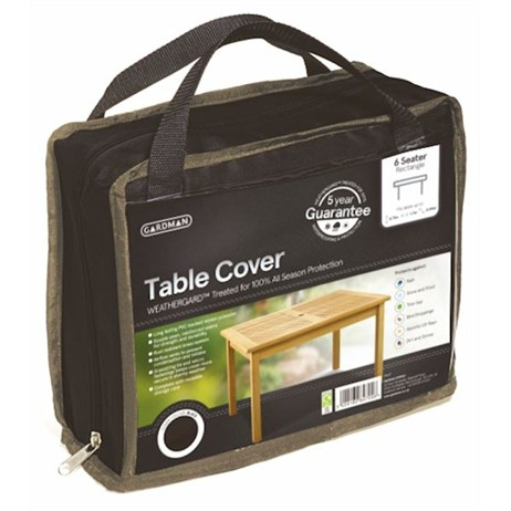 Gardman Premium 6 Seater Rectangular 6 Table Cover - Black (35667)