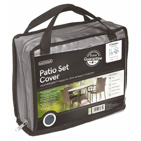 Gardman Premium 4 Seater Round Patio Set Cover - Grey (35905)