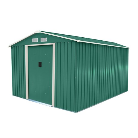 Charles Bentley 8ft x 10ft Metal Garden Shed in Green (GL/MT/SHED.01) DIRECT DISPATCH