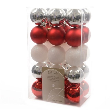 Kaemingk Box of Shatterproof 60mm Baubles - Merry Mix (020070)