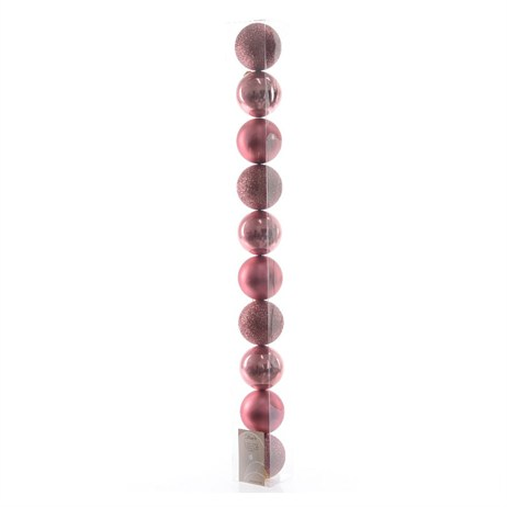 Kaemingk Tube of Shatterproof 60mm Baubles - Marble Pink (020212)