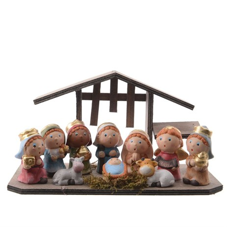 Kaemingk Nativity Set In Wood House With 10 Figures - 28.5x14x15cm (591327)