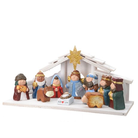 Kaemingk Nativity Set In Wooden House With 11 Figures - 32.5x14x16cm (596456)