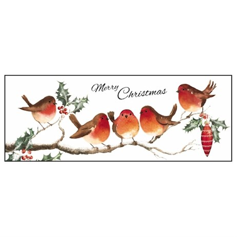 Noell Tatt 8 Pack Charity Christmas Cards - Robins On Branch - 7.5X20Cm (41542)