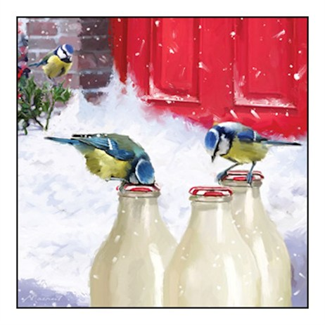 Noel Tatt 8  Pack Charity Christmas Cards - Blue Tits & Milk - 12.5cm (41550)