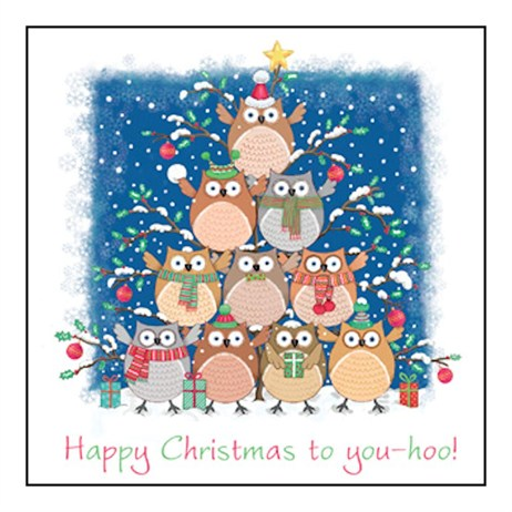 Noel Tatt 8  Pack Charity Christmas Cards - Owl Pyramid - 12.5cm (41556)