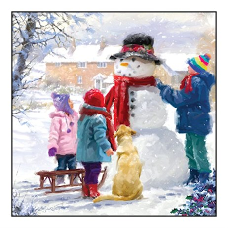 Noel Tatt 8  Pack Charity Christmas Cards - Happy Snowman  - 12.5cm (41558)