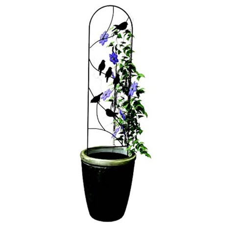 Panacea Perching Birds Pot Trellis - Black (84493)