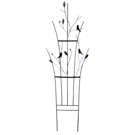 Panacea Curved Leaf and Bird Trellis - Black with Brushed Bronze Accents (89680)