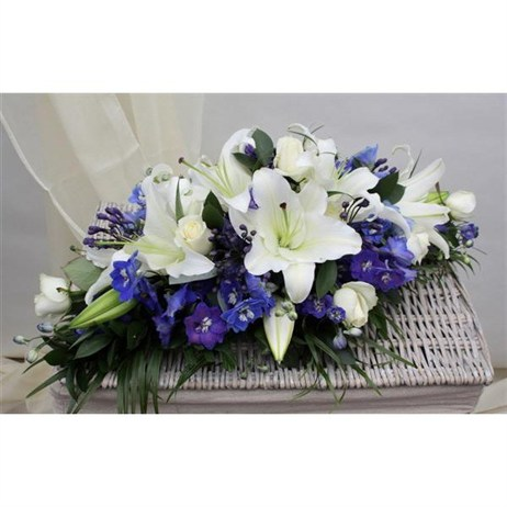 With Sympathy Flowers - Blue and White Double Ended Spray 3ft