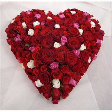 With Sympathy Flowers - All Rose Based Heart 12inch
