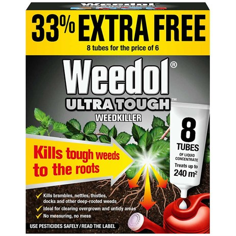Weedol Ultra Tough Weedkiller (Liquid Concentrate) 6 + 2 Tubes (010005)