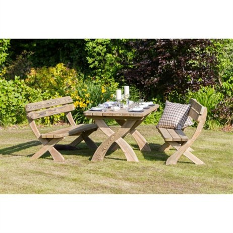 Zest 4 Leisure Harriet Table and 2 Bench Set (DIRECT DISPATCH)