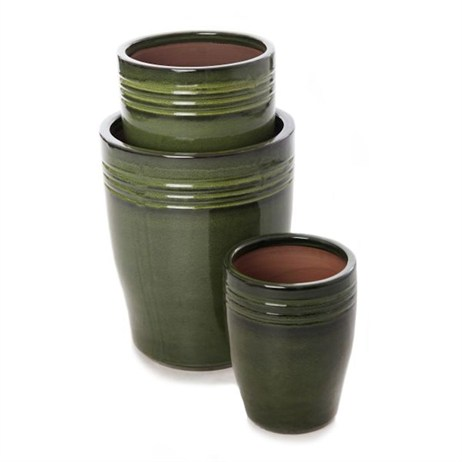 Unique Cassius Banded Glaze Planter 30 x 37cm - Green