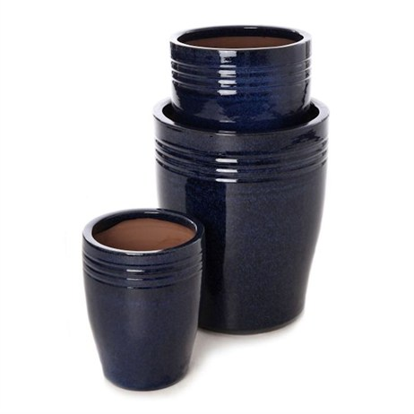 Unique Cassius Banded Glaze Planter 30 x 37cm - Navy