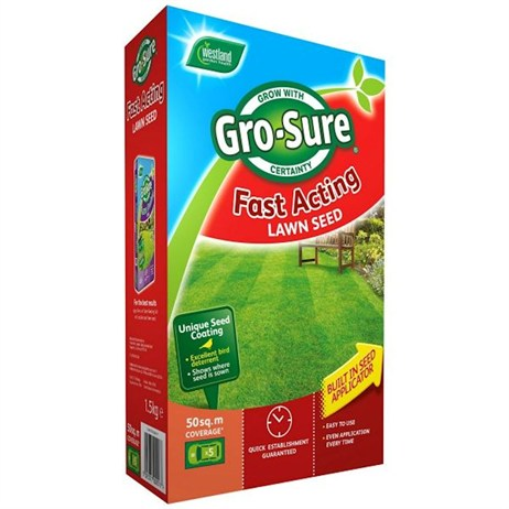 Gro-Sure Fast Acting Grass Lawn Seed - 50 sq.m - 1.5 kg