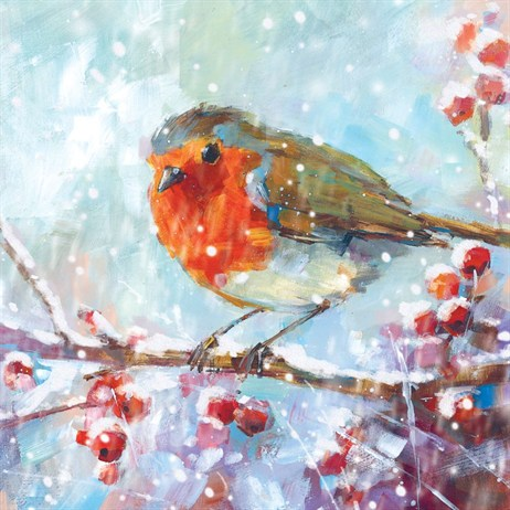 Ling 6 Pack Charity Christmas Cards - Glitter Robin on Perch - 13.5cm (X12101RCJP)