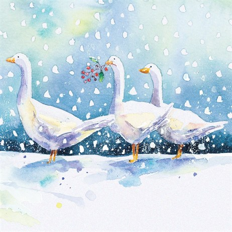 Ling 6 Pack Charity Christmas Cards - Glitter Geese Scene - 13.5cm (X12104RCJP)