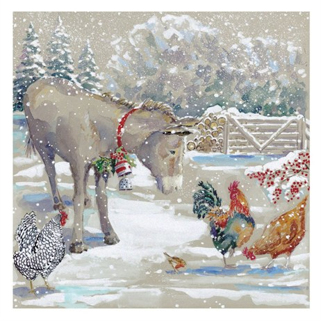 Ling 6 Pack Charity Christmas Cards - Glitter Little Donkey Scene - 13.5cm (X12107RCJP)