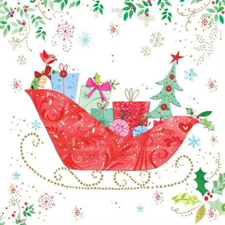 Ling 6 Pack Charity Christmas Cards - Red Sleigh with Gold Details - 13.5cm (X12109RCJP)