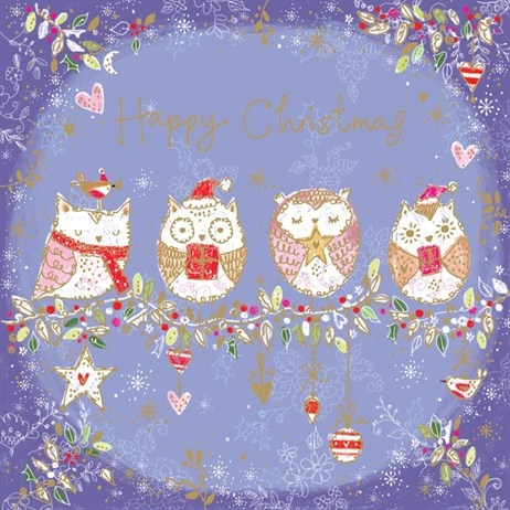 Ling 6 Pack Charity Christmas Cards - Golden Owls on Wire - 13.5cm (X12110RCJP)