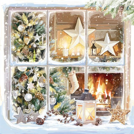 Ling 6 Pack Charity Christmas Cards - Window Scene - 13.5cm (X12113RCJP)