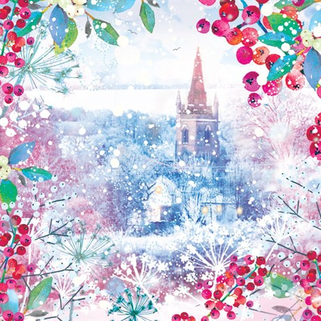 Ling 6 Pack Charity Christmas Cards - Colourful Chruch - 13.5cm (X12118RCJP)