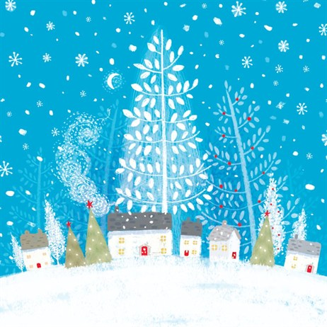 Ling 6 Pack Charity Christmas Cards - Snow Scene - 13.5cm (X12126RCJP)