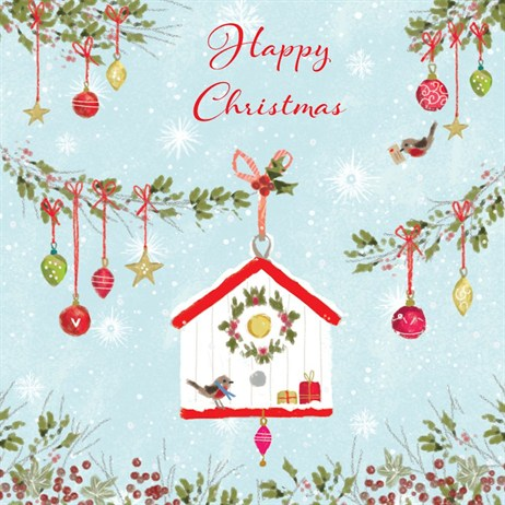 Ling 6 Pack Charity Christmas Cards - Bird House - 13.5cm (X12135RCJP)