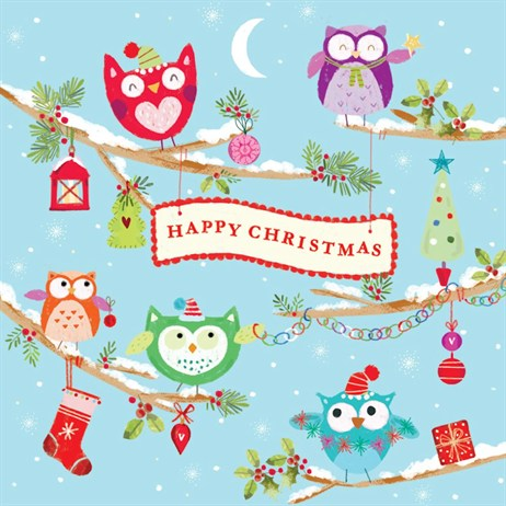 Ling 6 Pack Charity Christmas Cards - Happy Owls - 13.5cm (X12137RCJP)